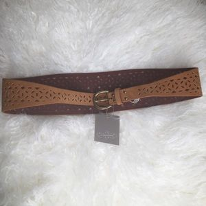 Anthropologie small tan belt with pattern NWT